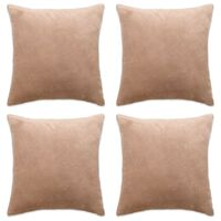 vidaXL Poszewki na poduszki, 4 szt., welur, 80x80 cm, beżowe
