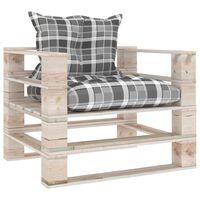vidaXL Sofa ogrodowa z palet, z poduszkami w szarą kratę, sosna