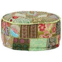 vidaXL Okrągły puf patchworkowy, ręcznie robiony, 40x20 cm, zielony