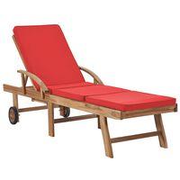vidaXL Leżak z poduszką, lite drewno tekowe, czerwony