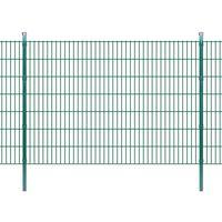 vidaXL 2D Panele i słupki ogrodzeniowe 2008x1430 mm 12 m zielone