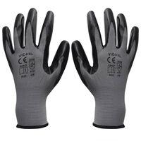 vidaXL Rękawice robocze, nitrylowe, 1 para, szaro-czarne, rozmiar 9/L