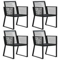 vidaXL Krzesła ogrodowe, 4 szt., z rattanowego sznurka, czarne