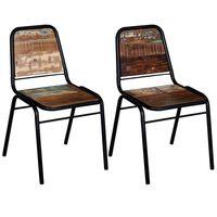 vidaXL Krzesła stołowe, 2 szt., lite drewno z odzysku
