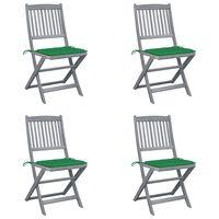 vidaXL Składane krzesła ogrodowe, 4 szt., poduszki, drewno akacjowe