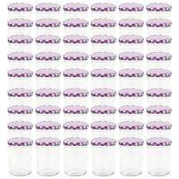vidaXL Szklane słoiki, biało-fioletowe pokrywki, 48 szt., 400 ml
