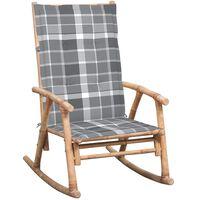 vidaXL Fotel bujany z poduszką, bambusowy