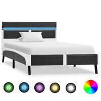 vidaXL Rama łóżka z LED, szara, sztuczna skóra, 90 x 200 cm