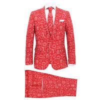 vidaXL Świąteczny garnitur męski z krawatem, 2-częściowy, 48, czerwony