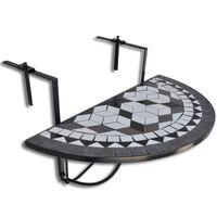 vidaXL Wiszący stolik balkonowy z mozaiką, czarno-biały