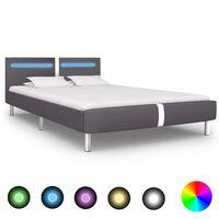 vidaXL Rama łóżka LED, szara, sztuczna skóra, 140x200 cm
