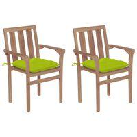 vidaXL Krzesła ogrodowe, 2 szt., jasnozielone poduszki, drewno tekowe