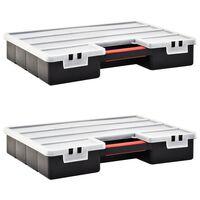 vidaXL Organizery, 2 szt., z przestawnymi przegródkami, 460x325x80 mm