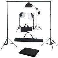 vidaXL Fotograficzny zestaw studyjny z lampami softbox i tłem