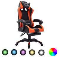 vidaXL Fotel dla gracza z RGB LED, pomarańczowo-czarny, sztuczna skóra
