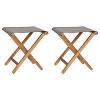 vidaXL Składane krzesła, 2 szt., lite drewno tekowe i tkanina, szare