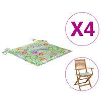vidaXL Poduszki na krzesła ogrodowe, 4 szt., wzór w liście, 40x40x4 cm
