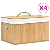 vidaXL Bambusowe pojemniki do przechowywania, 4 szt.