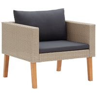 vidaXL Pojedyncza sofa ogrodowa z poduszkami, rattan PE, beż