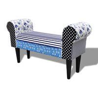 vidaXL Patchworkowa ławka w rustykalnym stylu, niebiesko-biała