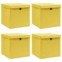 vidaXL Pudełka z pokrywami, 4 szt., żółte, 32x32x32 cm, tkanina