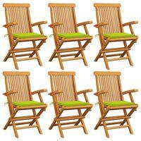 vidaXL Krzesła ogrodowe, jasnozielone poduszki, 6 szt., drewno tekowe