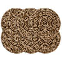 vidaXL Maty na stół, 6 szt., ciemnobrązowe, 38 cm, okrągłe, juta