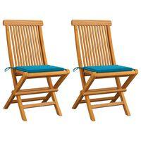 vidaXL Krzesła ogrodowe z niebieskimi poduszkami, 2 szt., tekowe