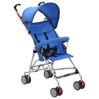vidaXL Składany wózek spacerowy, niebieski, stal