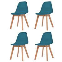 vidaXL Krzesła stołowe, 4 szt., turkusowe, plastik