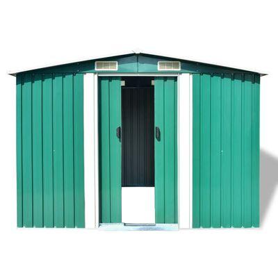 vidaXL Szopa ogrodowa, metalowa, zielona, 257 x 205 x 178 cm