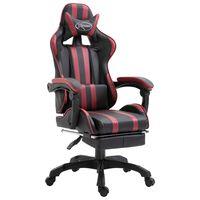 vidaXL Fotel dla gracza z podnóżkiem, czerwone wino, sztuczna skóra