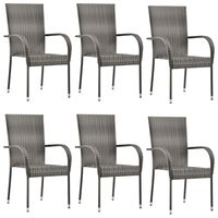 vidaXL Sztaplowane krzesła ogrodowe, 6 szt., szare, polirattan