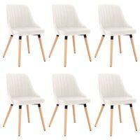 vidaXL Krzesła stołowe, 6 szt., kremowe, aksamitne