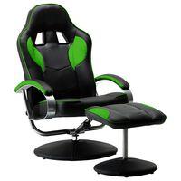vidaXL Rozkładany fotel dla gracza z podnóżkiem, zielony, ekoskóra