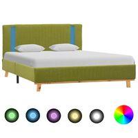 vidaXL Rama łóżka z LED, zielona, tapicerowana tkaniną, 120 x 200 cm