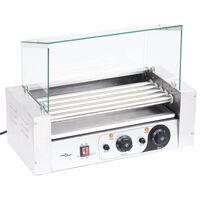 vidaXL Grill 5-rolkowy do hot dogów ze szklaną pokrywą, 1000 W