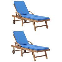 vidaXL Leżaki z poduszkami, 2 szt., lite drewno tekowe, niebieskie