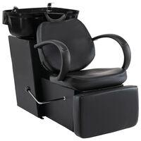 vidaXL Myjnia fryzjerska, fotel z umywalką, czarna, sztuczna skóra