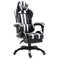 vidaXL Fotel dla gracza z podnóżkiem, biały, sztuczna skóra