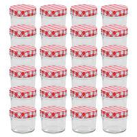 vidaXL Szklane słoiki na dżem, biało-czerwone pokrywki, 24 szt, 110 ml