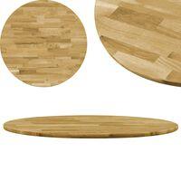 vidaXL Okrągły blat do stolika z litego drewna dębowego, 23 mm, 600 mm