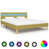 vidaXL Rama łóżka z LED, zielona, tkanina, 120 x 200 cm