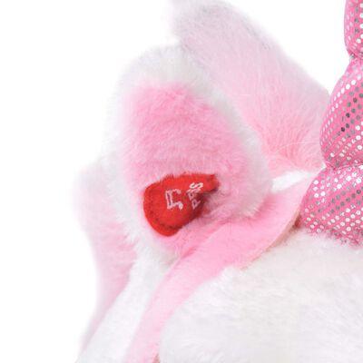 vidaXL Pluszowy jednorożec, stojący, biało-różowy, XXL