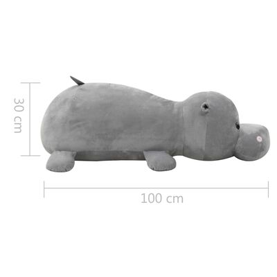 vidaXL Pluszowy hipopotam przytulanka, szary