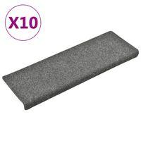 vidaXL Nakładki na schody, 10 szt., jasnoszare, 65x25 cm