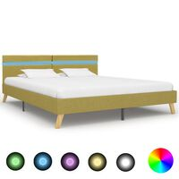 vidaXL Rama łóżka z LED, zielona, tkanina, 180 x 200 cm