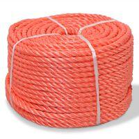 vidaXL Skręcana lina z polipropylenu, 10 mm, 500 m, pomarańczowa