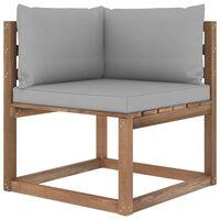 vidaXL Ogrodowa sofa narożna z palet, z szarymi poduszkami