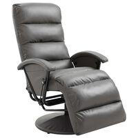 vidaXL Rozkładany fotel telewizyjny, szary, sztuczna skóra